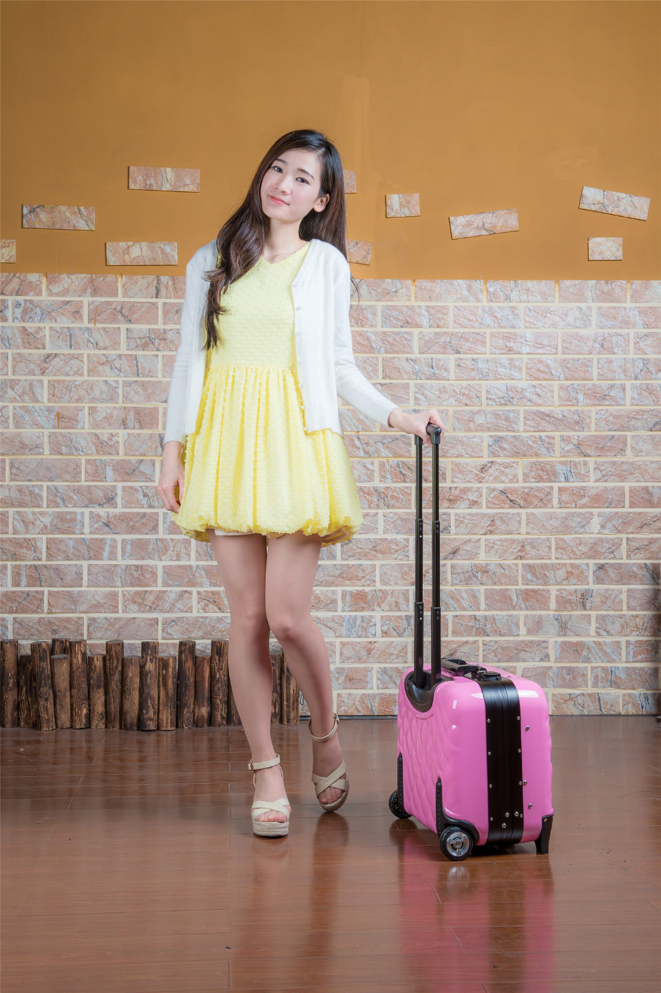 Beautiful Asian Female Model in Yellow Dress