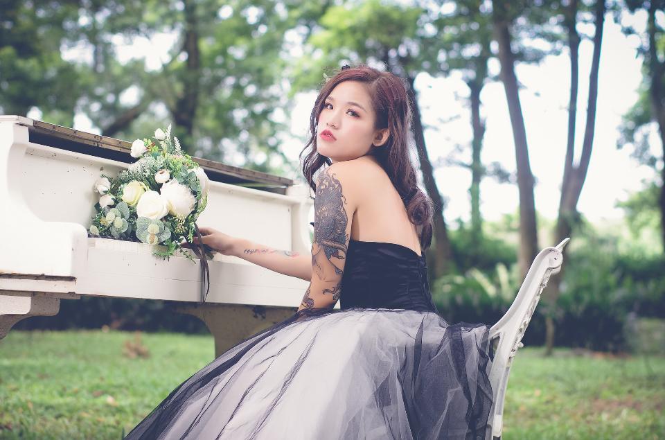 Beautiful Asian Female Model in Black Dress
