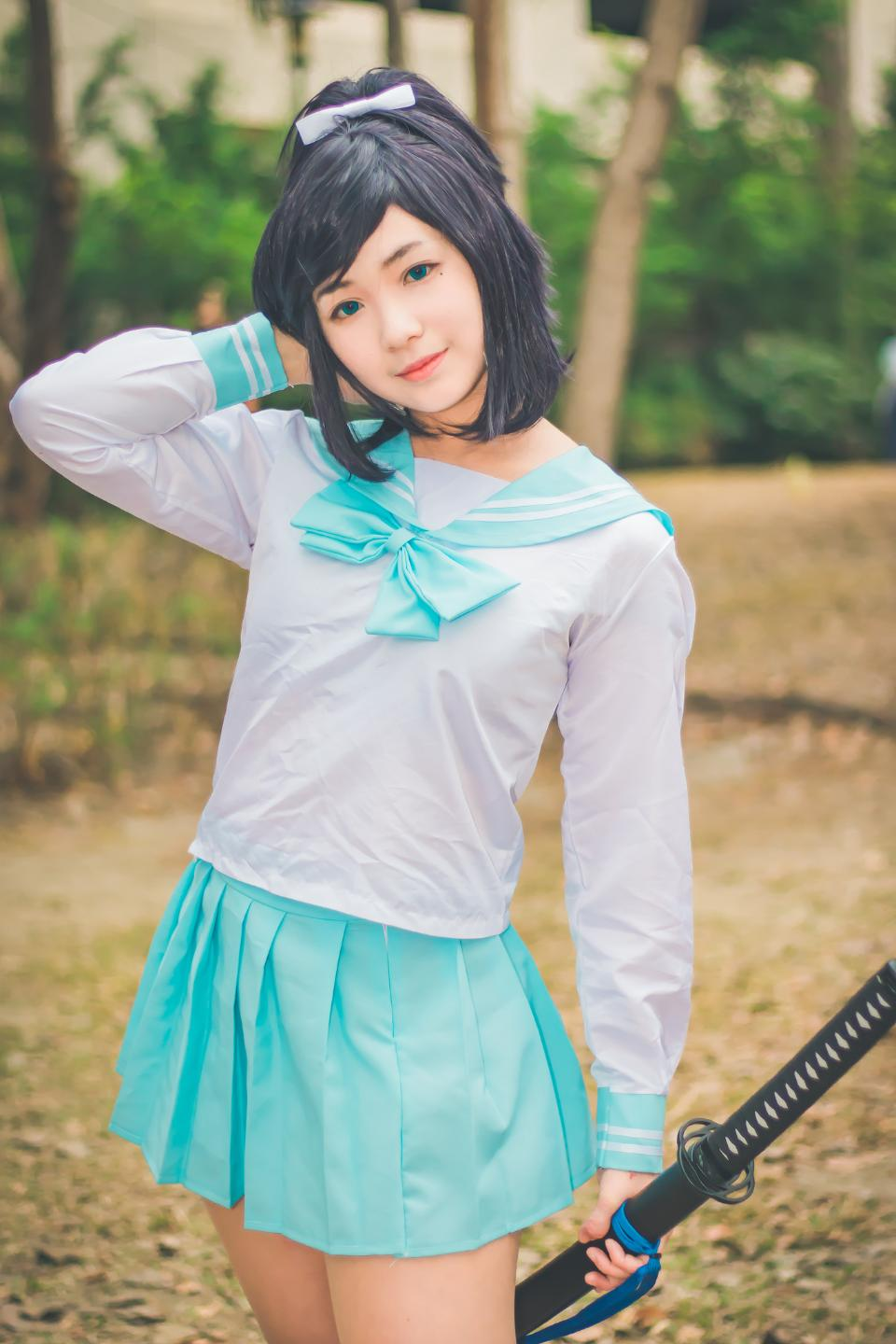 Cute Asian cosplayers dress up