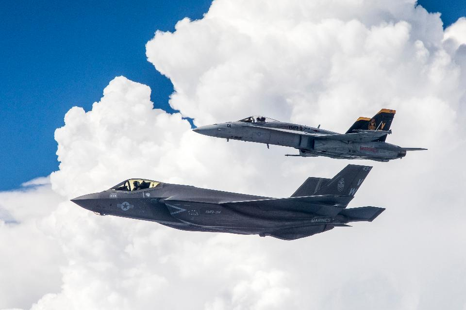 Lockheed Martin F-35C Lightning II and F/A-18A