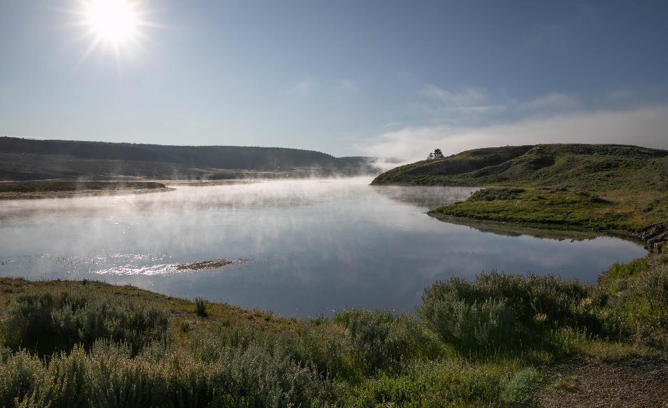 아침 빛에 옐로 스톤 강