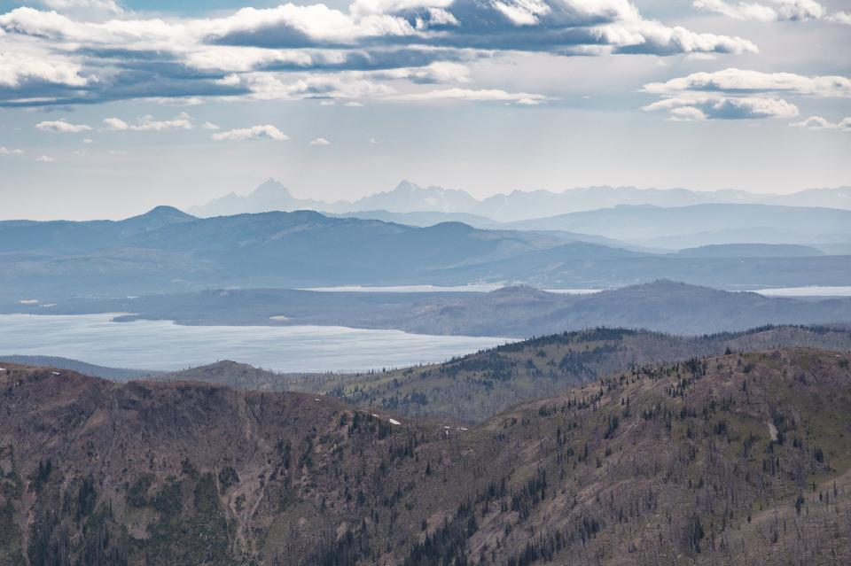 Teton Range and Yellowstone Lake from Avalanche Peak