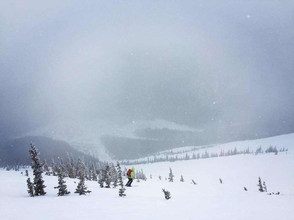 One freeride skier charging downhill
