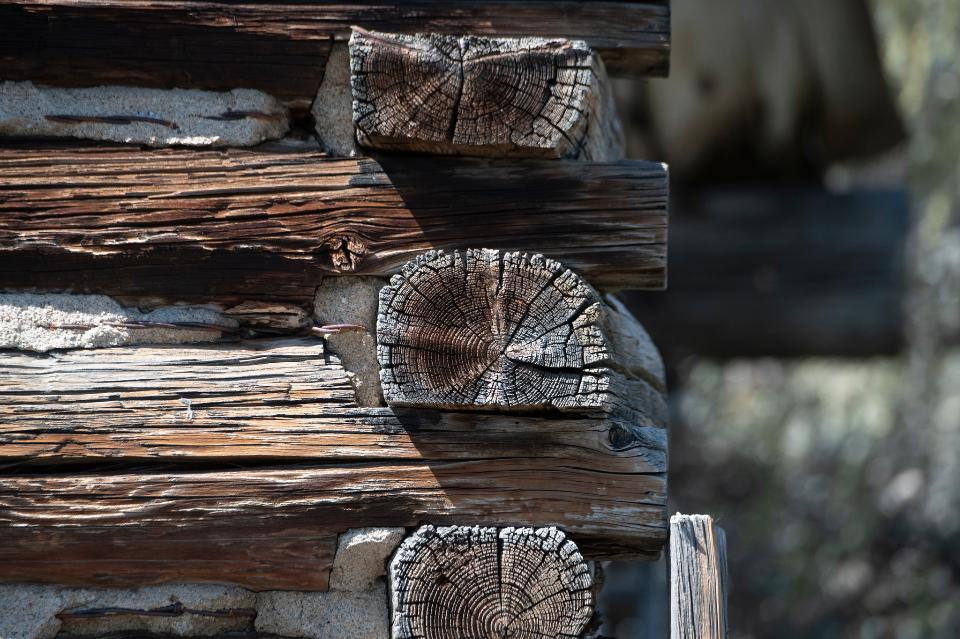 Old wooden timbered wall of a house