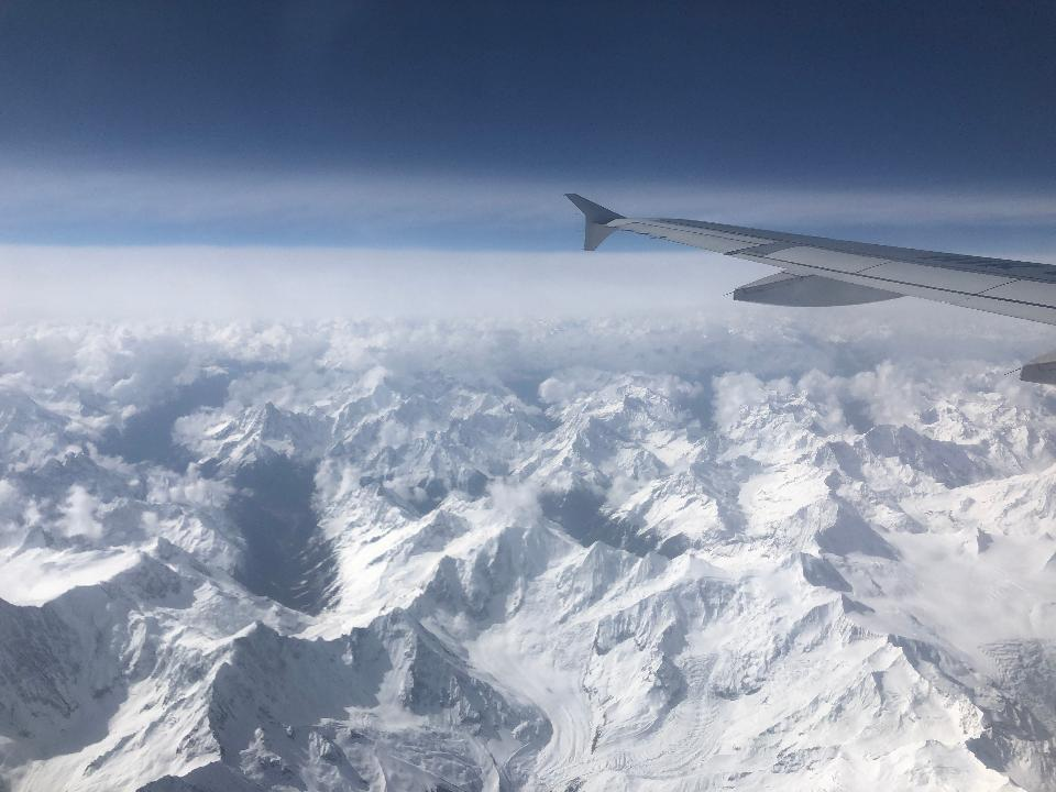 View of the Everest Mountain from the airplane window