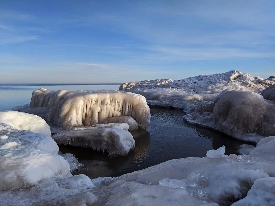 Ice formations along Lake Superior