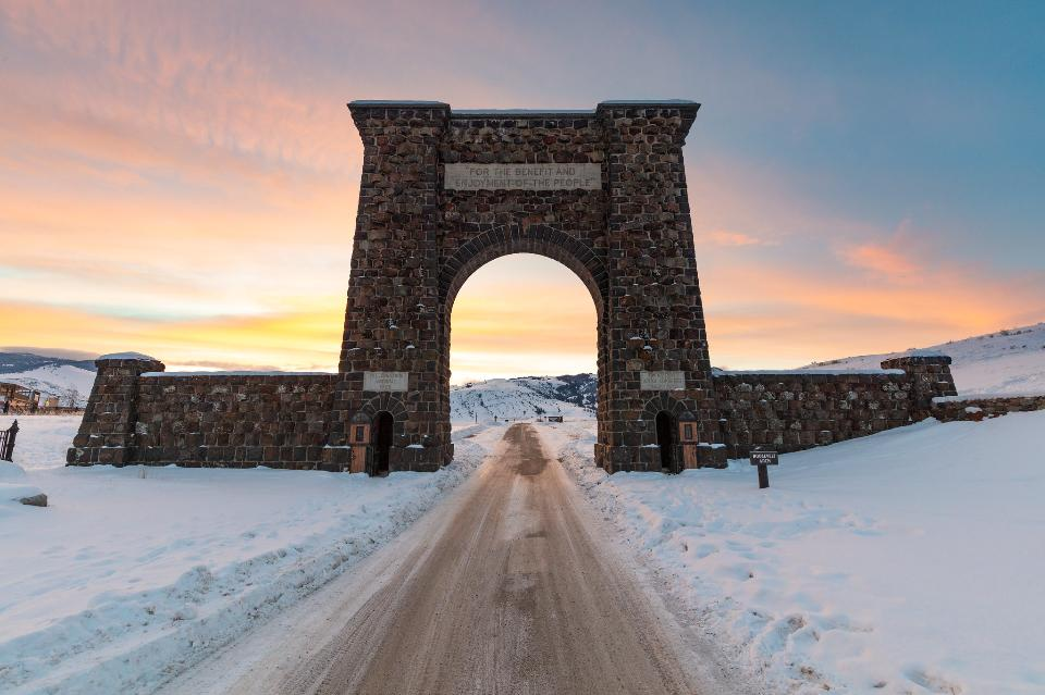 Colorful winter sunrise at Roosevelt Arch