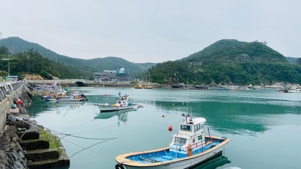 Boats Ttangkkeut Village in South Korea
