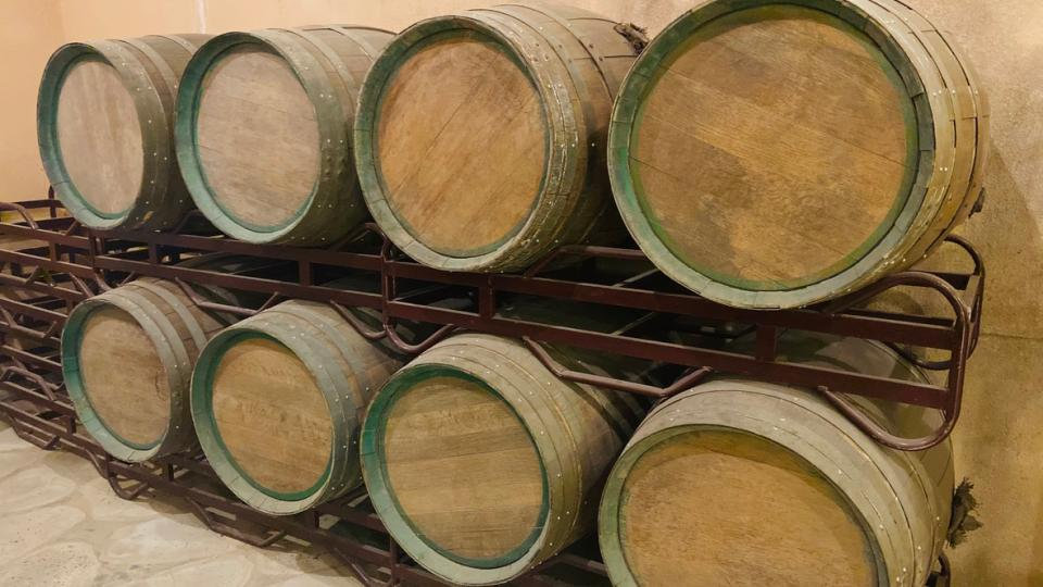 Stacked Wine barrels at the Hamyang winery