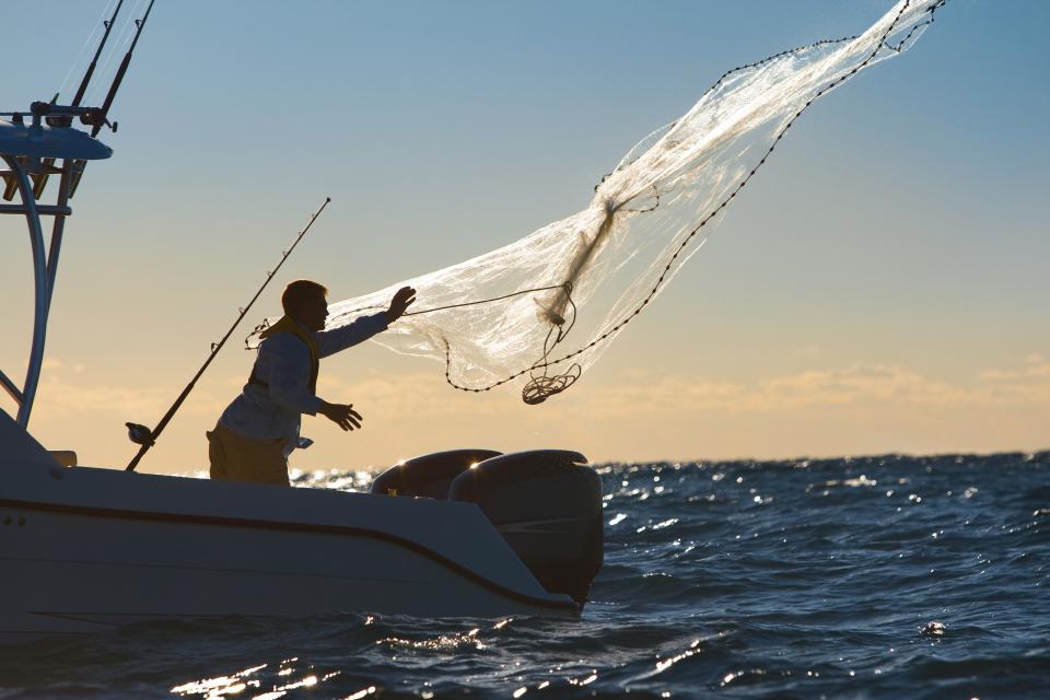 Man throws a fishing net