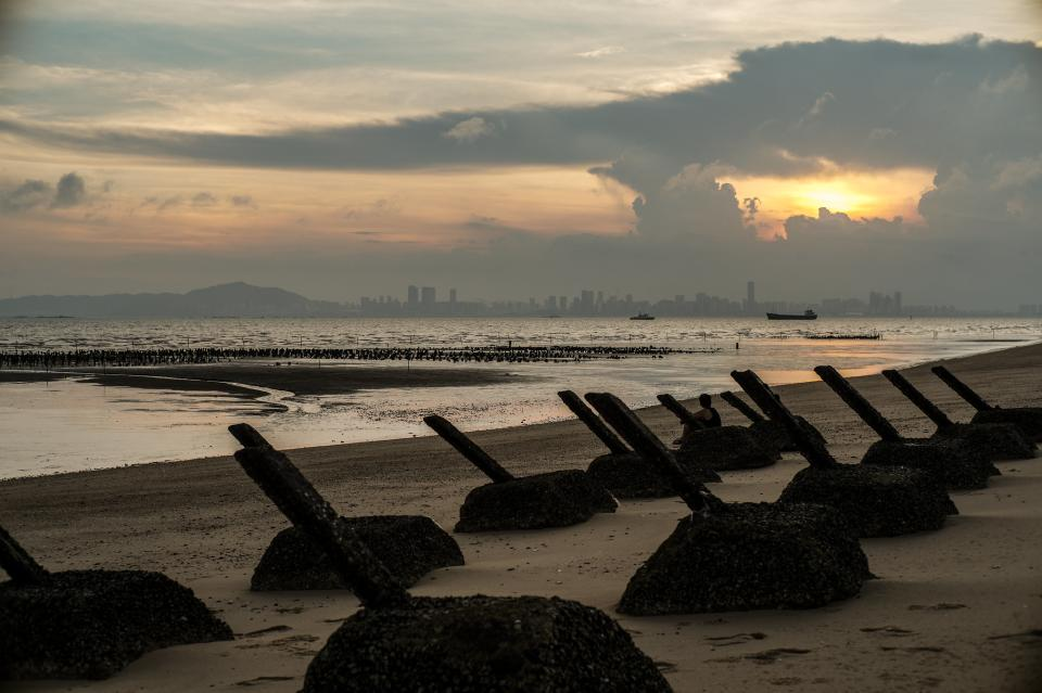 Xiamen skyline view at sunset